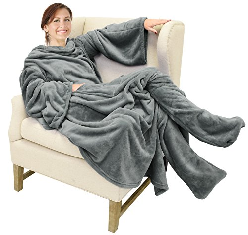 """Catalonia Wearable Fleece Blanket with Sleeves & Foot Pockets for Adult Women Men, Micro Plush Comfy Wrap Sleeved Throw Blanket Robe Large 75"""" x 53"""""""