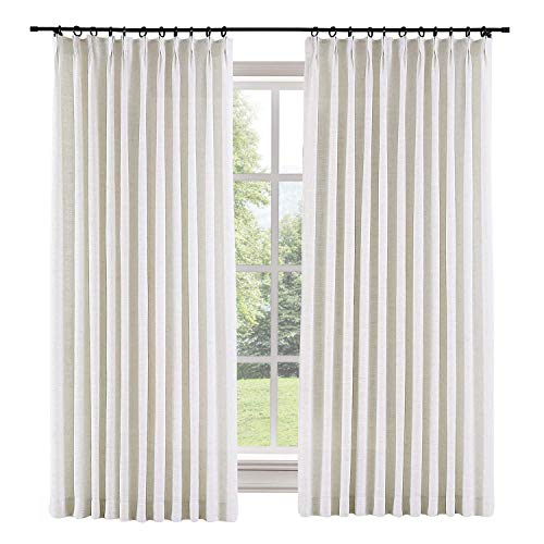 TWOPAGES 100 W x 96 L inch Pinch Pleat Darkening Drapes Faux Linen Curtains with Blackout Lining Drapery Panel for Living Room Bedroom Meetingroom Club Theater Patio Door (1 Panel),Beige White