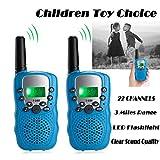 UPBASICN Kids Walkie Talkies, 22 Channel 2 Way Radio 3 Miles Handheld Mini Walkie Talkies with Flashlight and LCD Screen,Perfect for Children(1 Pair,Blue)