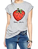 FV RELAY Women's Printed Tops Cute Short Sleeve Casual Teen Girls Tees T Shirts (L, Grey)