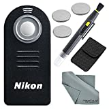 Nikon (Authentic) ML-L3 (Infrared) Wireless Remote Control Bundle with 3 X Spare Battery + 2-in 1 Lens Cleaning Pen + Fibertique Cloth