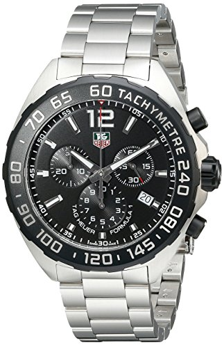 511sRH1f08L Round watch with tachymeter on bezel featuring luminous markers, shield logo under 12 o'clock, and date window at 4 o'clock 42 mm stainless steel case with antireflective-sapphire dial window Swiss quartz movement with analog display