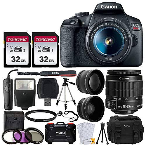 Canon EOS Rebel T7 Digital SLR Camera + EF-S 18-55mm f 3.5-5.6 IS II Lens + 58mm 2X Professional Telephoto & 58mm Wide Angle Lens + 64GB Memory Card + DC59 Case + 60' Tripod + Slave Flash + UV Filters