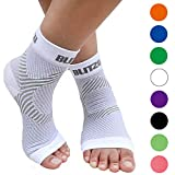 BLITZU Plantar Fasciitis Socks with Arch Support, Foot Care Compression Sleeve, Eases Swelling & Heel Spurs, Ankle Brace Support, Relieve Pain Fast White S-M