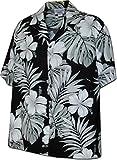 Hibiscus Blossom 100% Cotton Hawaiian Shirt Black 4XL 410-3589