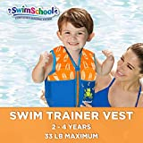 SwimSchool Swim Trainer Vest, Adjustable Safety Strap, Easy on and Off, Small/Medium, Up to 33 lbs., Pink
