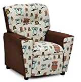 Product review for Childrens Upholstered Armchair Recliner - Your Child's Favorite Gift - Kids Reclining Chair with Cup Holders - We Love Owls :) - Two Fun Fabrics To Choose From