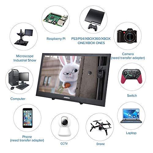 JOHNWILL-Moniteur-Portable-133-Pouces-IPS-cran-Full-HD-1920-1080-Moniteur-Haut-Parleur-intgr-Ultra-Mince-en-mtal-Noir-Compatible-avec-Un-Ordinateur-Portable-Raspberry-Pi
