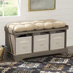 Walker Edison Modern Farmhouse Entryway Shoe Storage Bench Totes Upholstered Cushion Hallway Organizer, 42 Inch, Brown