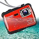 Waterproof Digital Camera for Kids, ishare Update Underwater Camera with 2.0' LCD, 8X Digital Zoom, 1080p Flash and Mic for Girls/Boys(RED)