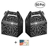 50pcs Halloween Favor Candy Boxes Spider Web Treat Bags for Halloween Party Decorations Kids Spider Birthday Party Supplies