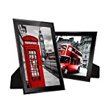 Disi 8x10 Glass Photo Frame Black Sparkle Picture Frames, for Family & Friends,2 Pack