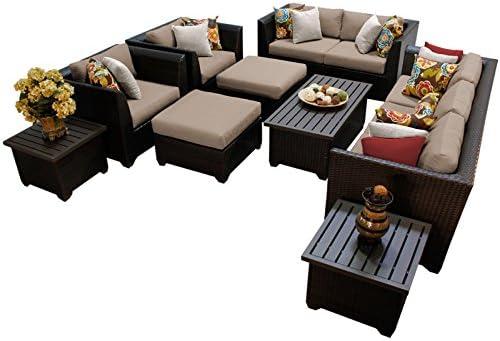 TK Classics BARBADOS-12d 12 Piece Barbados-12D Outdoor Wicker Patio Furniture Set, Wheat