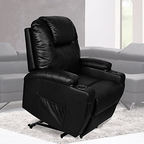 MAGIC UNION  Power Lift Massage Recliner Heated Vibrating Chair with 2 Controls Wheels - Black
