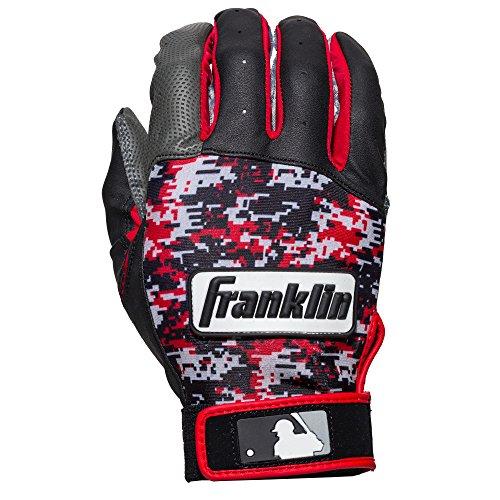 Franklin Sports MLB Digitek Batting Gloves, Grey/Black/Red Digi, Youth Large