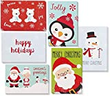 48-Pack Christmas Greeting Card - Assorted Holidays Xmas Cards in 6 Festive Character Designs with Penguin, Snowman, Santa, Polar Bears, and Snowflakes, Envelopes Included, 4 x 6 Inches