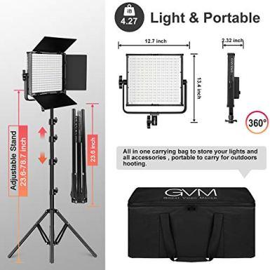 GVM-RGB-Video-Lights-with-APP-Control-50W-Full-Color-Studio-Video-Lighting-Kit-Led-Video-Lights-for-YouTube-Photography-Lighting-3-Packs-Led-Light-Panel-Aluminum-Alloy-Shell-3200K-5600K