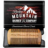 Beard Comb - Natural Sandalwood for Hair with Scented Fragrance Smell with Anti-Static - Handmade Fine Tooth Brush Best for Beard Moustache Packaged in Giftbox