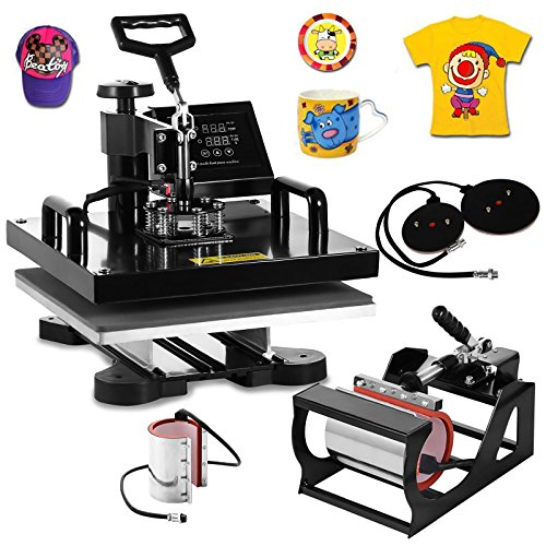 VEVOR Heat Press Machine15x15inch 6 in 1 Digital Multifunctional Sublimation Auto-Countdown Heat Presser for T Shirts Hat Mug (Black, 15x15INCH/6IN1)