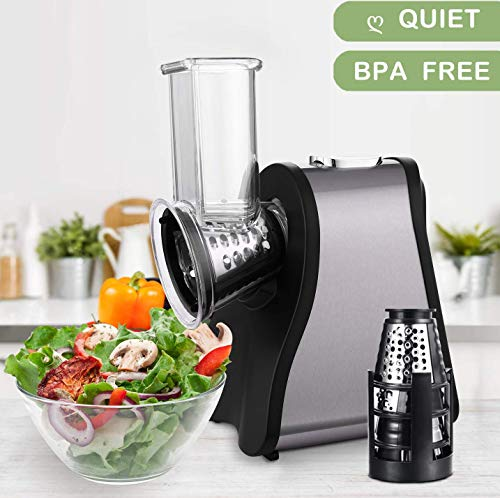 Professional Salad Maker Electric Slicer/Shredder with One-Touch Control and 4 Free Attachments for fruits, vegetables, and cheeses (Black)