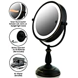"Ovente 7.5"" Lighted Tabletop Vanity Mirror, Battery or Cord Operated, SmartTouch Cool, Warm, Daylight LED Tones (1x10x Magnification, Hand-Painted Oil-Rubbed Bronze) (MPT75BZ1X10X)"