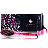 Professional Hairstyling Royale 3 Piece Straightener Brush Set - Interchangeable Attachments - Volumizes, Straightens and Curls - Tourmaline Technology - Pink