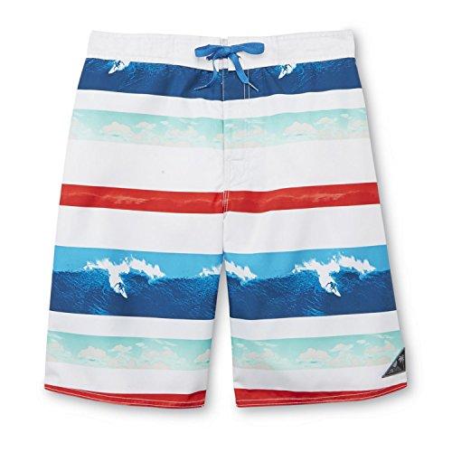 Mens Red/White/Blue Striped Surfing Board Shorts Swim Trunks L
