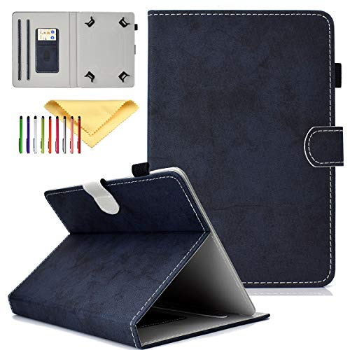 Cookk Universal 9.5-10.5 Inch Tablet Case with Card Slot Kickstand Protective Cases and Covers for iPad 9.7, Nexus 9, Galaxy Tab 9.7/9.6/10.1, Darlblue