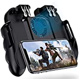 4 Triggers Mobile Game Controller with Cooling Fan for PUBG/Fotnite [6 Finger Operation] YOBWIN L1R1 L2R2 Gaming Grip Gamepad Joystick Mobile Controller Trigger for 4.7-6.5' iOS Android Phone
