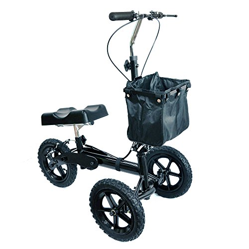Knee Walker Drakefyre All Terrain Steerable Knee Scooter for Broken Leg & Foot with Basket Double Hand Braking System Pneumatic wheels