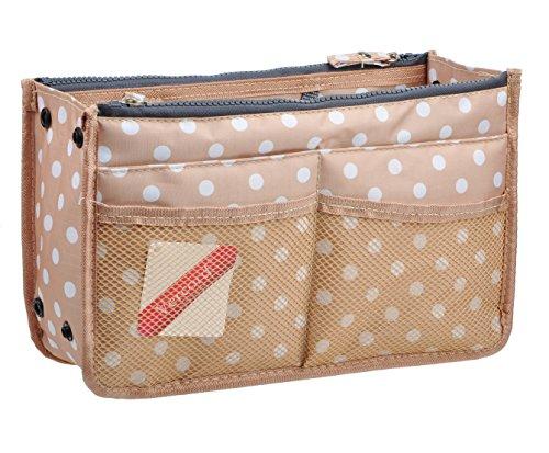 Vercord Updated Purse Handbag Organizer Insert Liner Bag in Bag 13 Pockets Beige Dot Medium