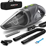 FORTEM THE EXTRA MILE Silver Car Vacuum Cleaner by FORTEM (120W) -4500 Pa Suction DC 12 Volt Handheld Portable Heavy Duty Design-16 Foot Power Cord-1 Steel Washable Filter-3 Attachments-Carry Bag