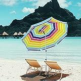Snail Beach Umbrella, 7 ft Sand Anchor with Tilt Aluminum Pole, Portable Sun ray Protection Beach Umbrella with Carry Bag for Outdoor Patio,Mulit-Color
