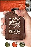 Emergency Sleeping Bag With Hood | Ultralight, Waterproof, Thermal Mylar Sleeping Bag Liner | Survival Bivy Space Blanket Bivey For Hiking, Backpacking, Earthquake, First Aid Kits, Camping Gear Orange