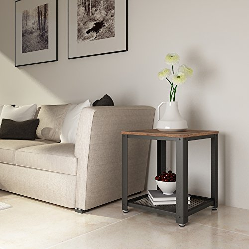 Songmics vintage end table 2 tier side table with storage - Antique side tables for living room ...
