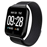 Smart Watch Waterproof Multisport Fitness Tracker for Women Men Activity Tracker with Heart Rate Blood Pressure Sleep Monitor Pedometer Wearable Wristband for Holiday Birthday Gift (Black-Steel Strap)