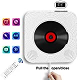 Portable CD Player with Bluetooth, Wall Mountable CD Music Player Home Audio Boombox with Remote Control FM Radio Built-in HiFi Speakers, MP3 Headphone Jack AUX Input Output, White