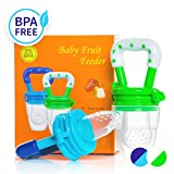 Dream on Baby Food Feeder - Fruit Feeder Pacifier (2 Pack) - Best Infant Teething Toy Nibbler Teether with Silicone Food Pouches - Appetite Stimulating Colors