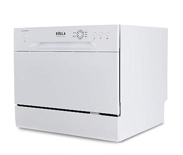 Amazon Com Della Mini Compact Countertop Dishwasher 6 Place Settings Portable For Small Apartment Home Kitchen White Appliances