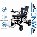Lightweight Folding Electric Wheelchair - Ultra Portable Foldable Power Motorized Scooter Chair - Extra Wide 19.6' Seat - Comfortable Cushion, Extremely Compact for Car and Air Travel - by Wings