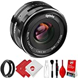 Opteka 35mm f/1.7 HD MC Manual Focus Prime Lens with Vented Hood and Cleaning Kit for Canon EF-M Mount APS-C Digital Cameras