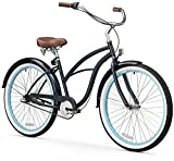 sixthreezero Women's 3-Speed Beach Cruiser Bicycle, Classic Dark Blue w/Brown Seat/Grips, 26' Wheels/17 Frame