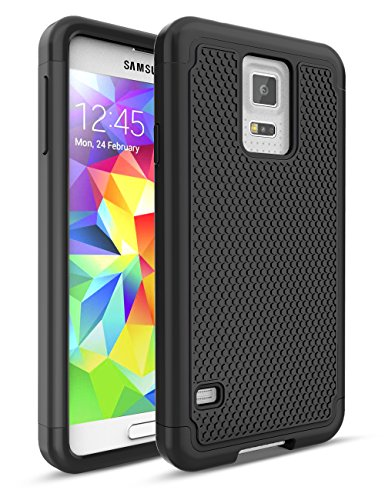 Galaxy S5 Case,TILL [Protective Buffer] Shock Absorbing Dual Layer Hybrid Rubber Plastic Impact Defender Rugged Slim Hard Case Cover Shell for Samsung Galaxy S5 S V I9600 GS5 All Carriers [Black]