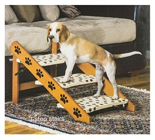 Hot Sale! Convertible Pet Ramp Steps Dog Cat. Bed Stairs Step Easy, Wood 2 in 1 Staircase