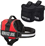 Industrial Puppy Service Dog Vest with Hook and Loop Straps and Detachable Backpacks   Harnesses in 7 Sizes from XXS to XXL   Service Dog Harness Features Reflective Patch and Comfortable Mesh Design