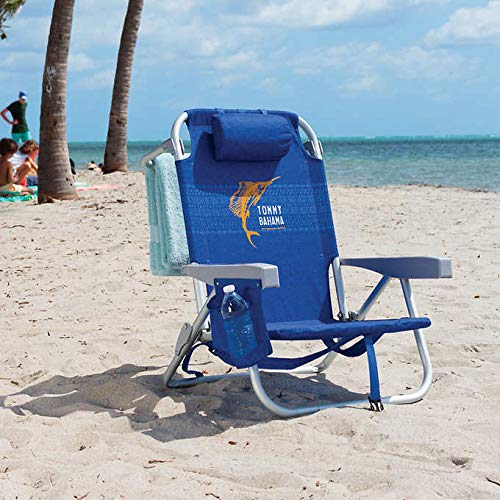 Tommy Bahama Backpack Beach Chair Blue with Sailfish Logo