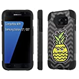 TalkingCase Phone Case for Samsung Galaxy S7,GS7,Black-Black Premium Double-Layer Armor Case,Ruggedized with Kickstand,Pineapple Head Daydream Print, Designed and Printed in USA