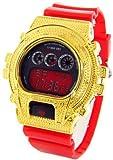 King Master Ice Plus Aqua Master Gold Diamond Case & Shiny Red Band Digital Diamond Watch #KM-9