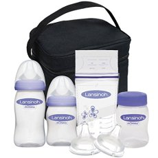 Lansinoh Breastmilk Storage & Feeding Set with Cooler Includes Bottles, Nipples, Bottle Caps, Collars, Storage Caps, a Cooler Bag with Ice Pack and Breastmilk Storage Bags