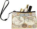 Rikki Knight Vintage World Map Design Keys Coins Cards Cosmetic Mini Clutch Wristlet